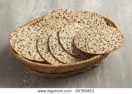 Basket with fresh wholewheat matzah
