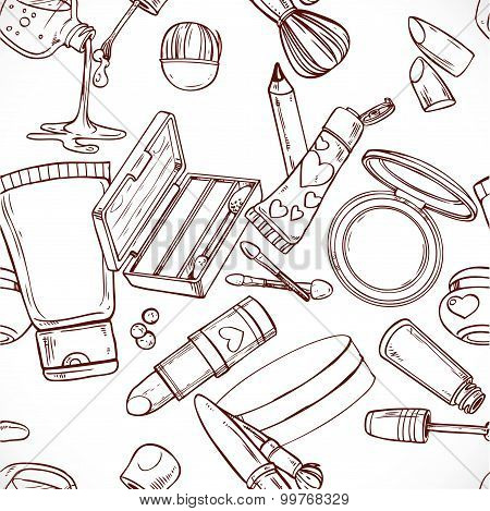 Seamless Pattern From Doodles On Cosmetics Cream,eye Shadow, Face Powder, Brush, Foundation Cream, M
