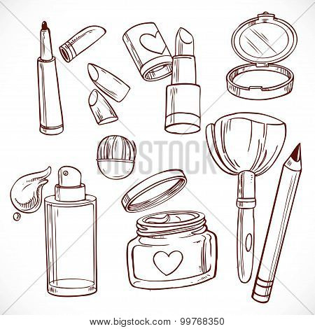 Set Of Doodles On Cosmetics  Cream, Face Powder, Lipstick, Brush