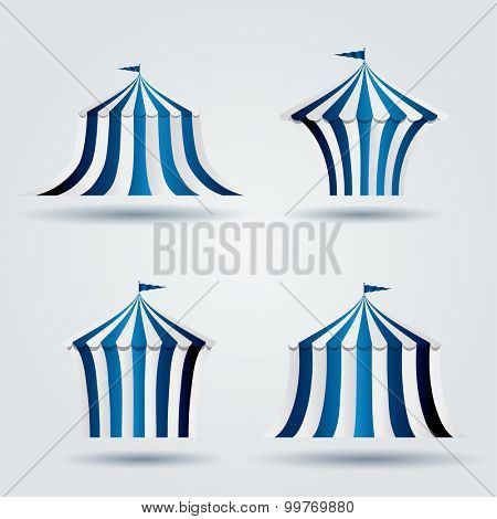 vector icons of blue circus tents