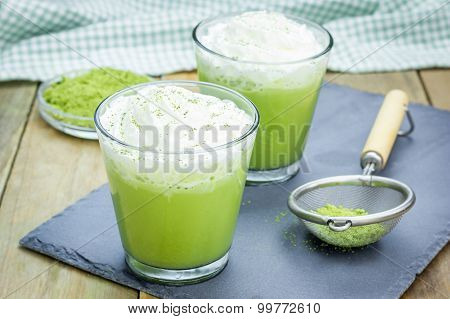 Homemade Green Tea Frappe In Glass, Closeup