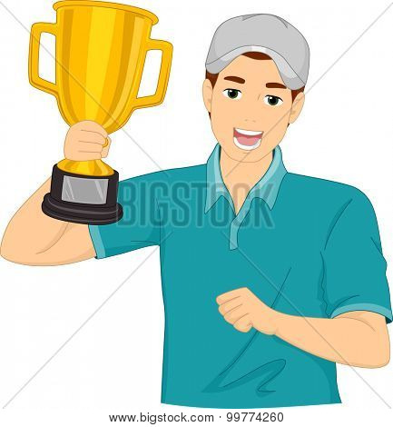 Illustration of a Man Proudly Holding a Golden Trophy
