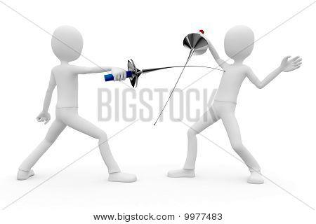 3D Man Fencers Dueling