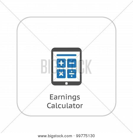 Earnings Calculator, Business Icon. Flat Design.