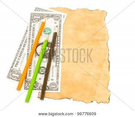 Dollar Banknotes And Colorful Pencil On Old Paper