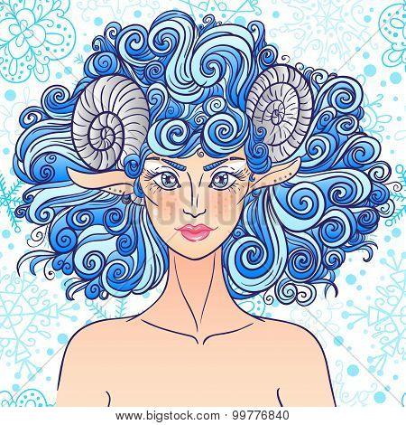 Zodiac sign Aries. Blue sheep lady.