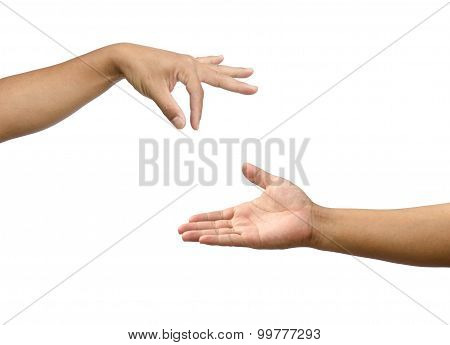 Hand Gestures By Two People. Expresses Support For An Opportunity To Commensurate With Others..