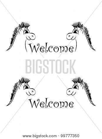 set of banner welcome horses