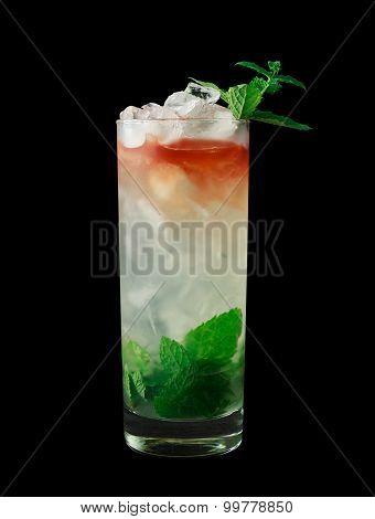 Queens Park Swizzle cocktail on black background