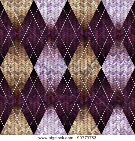 Classic argyle pattern in knitting style.