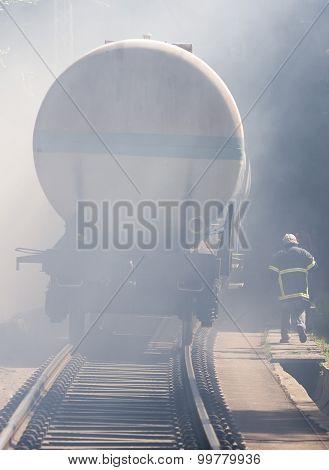Tanker Train In Smoke Firefighter