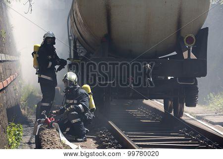 Tanker Train Smoke Firefighters