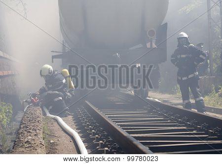 Tanker Train Fire Firefighters