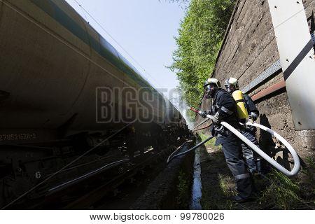 Tanker Train Fire Extinguishing