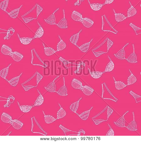 Vector Lingerie Seamles Pattern, Fashion Woman Underwear Background With Bra And Panties