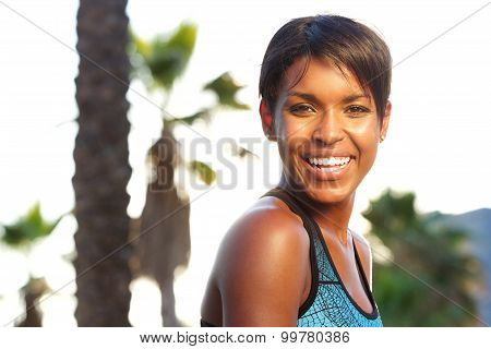 Attractive Healthy African American Woman Laughing Outside