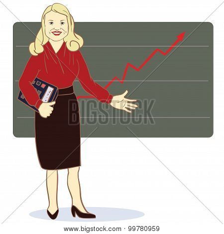 A woman with a calculator stands near the diagram of the arrow. Vector illustration
