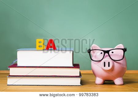 Bachelor Of Arts Degree Theme With Textbooks And Piggy Bank