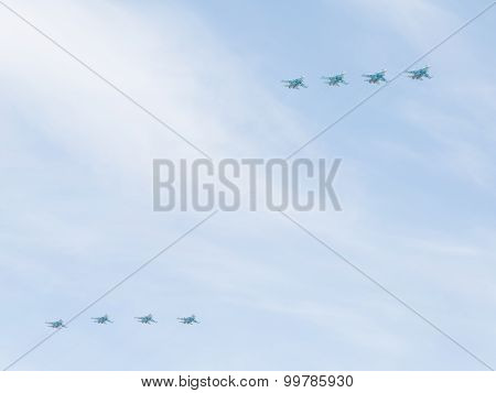 Eight Su-34 In The Sky Over Moscow