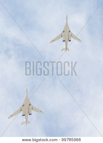 Two Tu-160 In The Sky Over Moscow