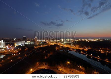 Night view from the observation deck in Minsk