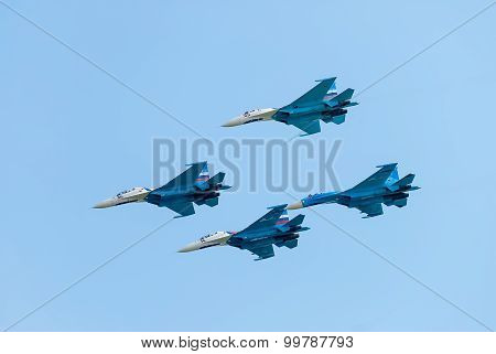 Group flight of russian pilotage team on SU-27