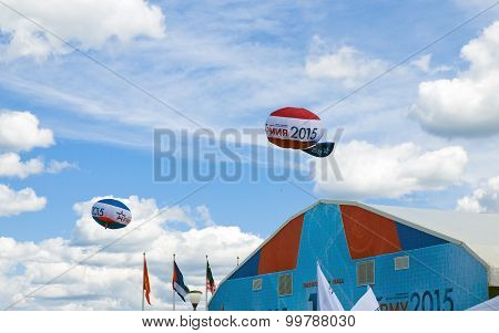 Two airship in the sky above the pavilion at the forum