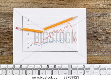 Line Graph Reflecting Market Conditions On A Rustic Wooden Desk
