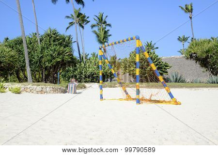 Bright Colored Soccer Net On The Beach