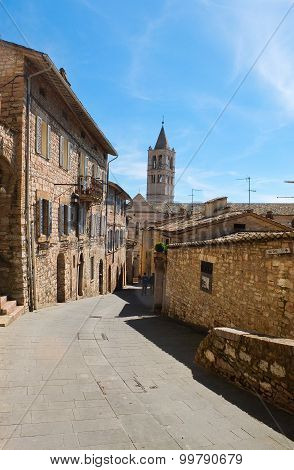 View of a street in Assisi Umbria Italy