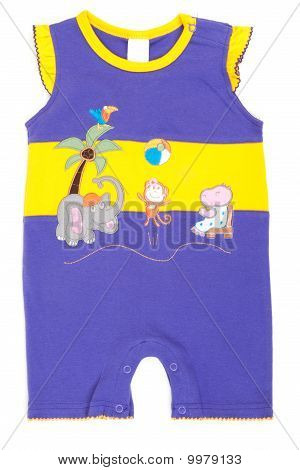 Baby Underclothes Blue And Yellow With Aplique Work