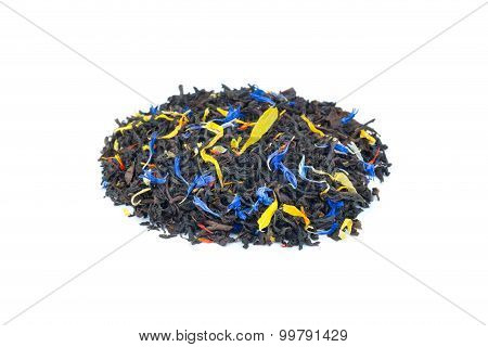 Heap Of Colorful Loose Exotic Dream Tea On White Background
