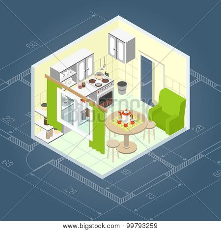 Kitchen Interior Isometric
