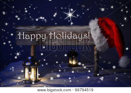 Christmas Sign Candlelight Santa Hat Happy Holidays
