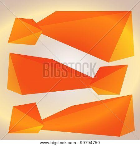 Horizontal Banner Orange Triangles Surround Effect Empty