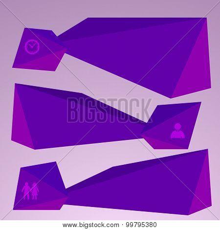Horizontal Banner Purple Triangles Surround Effect Empty