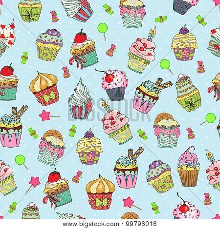 Cupcake Doodle Pattern