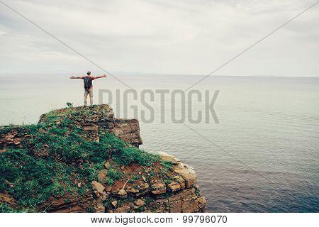 Happy Traveler Enjoying View Of Sea