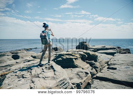Traveler Taking Photographs Beautiful Seascape