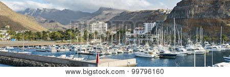 Panoramic view of San Sebastian de la Gomera harbor on July 12 2015 in La Gomera Canary Islands Spai