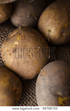 Potatoes In Hessian Sack From Above