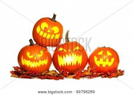 Stacked Halloween Jack o Lanterns isolated on white