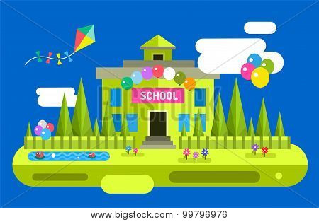 Back to school background. Vector building illustration. Outdoor