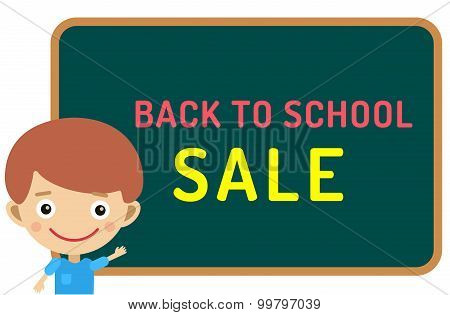 Cute vector cartoon boy staying near classroom board. Back to school background