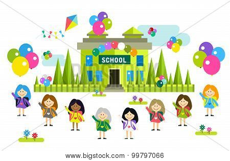 Cute vector cartoon girls from different countries playing near school building