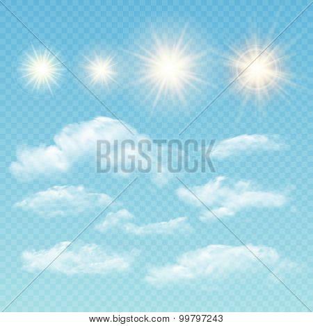 Sky creator. Set realistic clouds and sun. Vector illustration