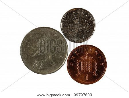 Three English Coins One Five Ten Pence