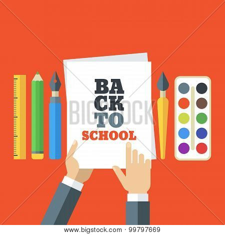 Back To School Flat Creative Illustration. Tools And Art Supplies For Design, Drawing, Painting. Vec