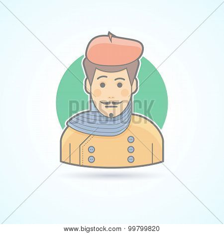 Artist, painter, designer icon. Avatar and person illustration. Flat colored outlined style.