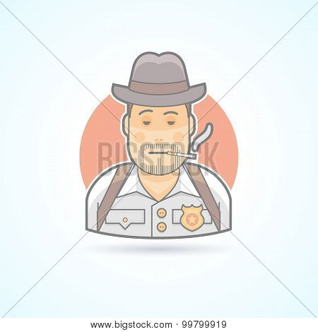 Detective, police officer, snoop icon. Avatar and person illustration. Flat colored outlined style.